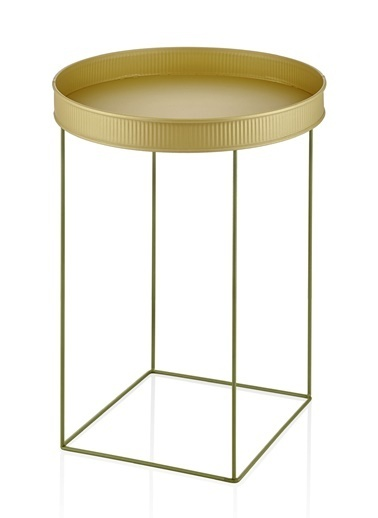 The Mia Sehpa Gold Tel Haki Yeşil Sehpa 55 x 41 x 41 Cm Altın